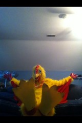 Chicken suit 72 (ChickenJay) Tags: bird chicken yellow happy zoo costume transformation mask wing beak suit talon hen birdbrain toony