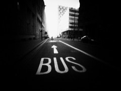 life in the bus lane (fotobananas) Tags: life street urban bus liverpool pen olympus pinhole wanderlust lane ep1 fotobananas wanderlustcameras pinwide