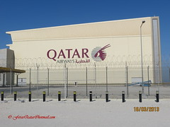 Hangar of Hamad Int'l Airport - Qatar . (Feras Qaddoora) Tags: new airport international airways hamad doha qatar      ndia  flyqatar