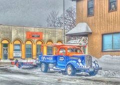 Local Motion (mazzmn) Tags: street blue winter orange snow truck vintage cool forsale samsung pickup headlights grill studebaker trailer workout hdr hss windowwatcher