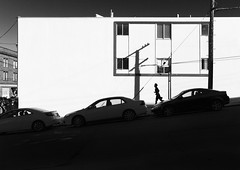 San Fran Sun (jordan bollen) Tags: road street light shadow white black building cars window car contrast canon high san francisco grain run fran pole 7d runner jog jogger shodow 1635mm arfternoon