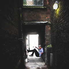 Bound (Amelia Bramwell) Tags: lighting wood light boy urban max colour male contrast corner town warrington model alley sam natural daniel air inspired floating nike taylor vignette expansion cartwright 1s