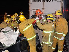 SB 405 jno Mulholland Dr.  Photo by Rick McClure  8 (Rick McClure Photography) Tags: rescue chevrolet lafd freeway chp 405freeway shermanoaks trafficaccident pinned movingvan losangelesfiredepartment vehic northdivision firestation88 ronaldreaganuclamedicalcenter battalion10 rickmcclurephotography trappedoccupants