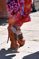 Not my kind of walking shoes! (moorepix4u2c) Tags: stylin comfortable walking ouch hurt shoes highheels ridiculous heels platforms bunions feethurt whatwasshethinking ohmyachingfeet meandmytennisshoesgetalongrealwellforthissortofwalking feethurtjustlookingattheseshoes