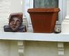 spitting image (helenoftheways) Tags: uk london artwork rip flowerpot windowsill plantpot hithergreen maggiethatcher cariacature theironlady