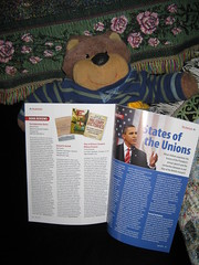 Teddy Tedaloo checks out his book review in The American magazine (Mitzi Szereto) Tags: books writers celebrities teddybears authors bookreviews normalfornorfolk theamericanmagazine teddytedaloo mitzitv famousteddybears thethelonioustbearchronicles