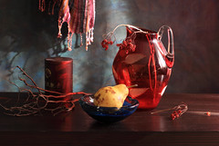 And Pixie Dust (panga_ua) Tags: blue light stilllife color art glass beauty yellow fruit composition scarf canon spectacular lights artwork berry shadows artistic availablelight naturallight ukraine poetic creation pear hanging imagination natalie reds twigs arrangement tabletop bodegon naturemorte panga artisticphotography rivne naturamorta bluebowl artphotography sharpfocus rubyred driedberries andpixiedust  nataliepanga guelderroseberries redglassjug pastelsbackground metallicjar