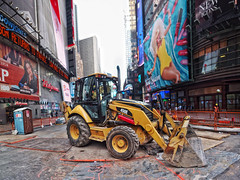 Catepillar in Times Square HDR (crankykoopa) Tags: nyc panorama newyork tractor construction manhattan olympus caterpillar timessquare hdr catepillar tonemapping 450e epm1 olympusepm1 caterpillar450e