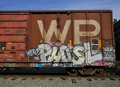 Phosl HERO (Sk8hamburger) Tags: railroad art train painting graffiti paint pacific tag rr hero western boxcar graff piece wp tagging freight westernpacific paint spray phosl