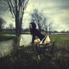 destinations unknown (danaxxmarie) Tags: flood grass river water trees forest sailboat boat destinations girl brunette emotive travel distance