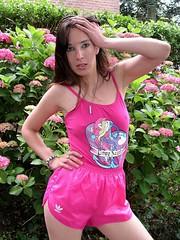 Hot pink girl (Paula Satijn) Tags: pink sexy girl shiny shorts satin adidas shinyshorts