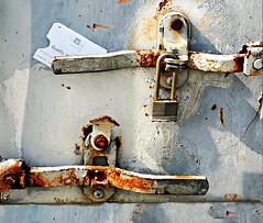 Ticket (floralgal) Tags: texture industrial tag ticket latch doorlatch lockdown rustylock rustydoorlock