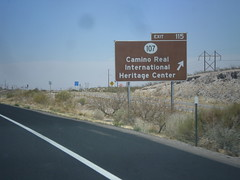I-25 North - Exit 115 (sagebrushgis) Tags: newmexico sign intersection i25 socorrocounty biggreensign freewayjunction caminorealinternationalheritagecenter