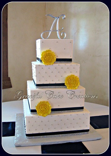 Elegant White Wedding Cake with Navy Blue and Silver Bling Ribbon ...