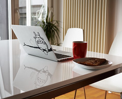 Breakfast (Sergey Galyonkin) Tags: macbook tea coffee cup breakfast white high key totoro phone sandwich toast rye