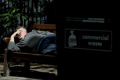 Lunch time napping (At the Speed of Life) Tags: city london sleep voyeur street streetphotography candid naturallight light people shadow contrast vividstriking sleeping resting bench
