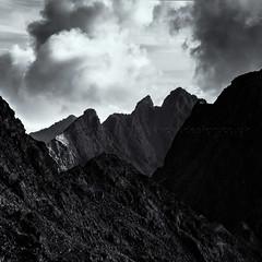 Cuillin (amcgdesigns) Tags: cuillinlodgeoct2014 skye andrewmcgavin mono monochrome blackandwhite black sgurralasdair sgurrdearg sgurrnabanachdich cuillin drama dark moody clouds steep rocks scree