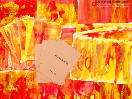 """Papers pintats, obra art original de Ferran Cerdans Serra, per al llibre """"Batecs d'enyor"""" de Núria Lorente. Fets a mà a Llibres Artesans  Fem els llibres del futur des de 2002."""