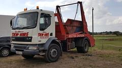 DAF LF 55-220 Skip Lorry, DX56 AJU. (LBCSteve) Tags: daf lf 55220 skip lorry red white