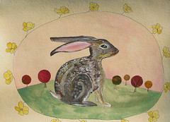 Autumn Rabbit, Alone in a Colorful Woods (Fauna Finds Flora) Tags: rabbit bunny hare animal leaf leaves autumn trees story narrative whimsical nature naturalhistory naturalcuriosity frame tea gouache illustration painting art faunafindsflora