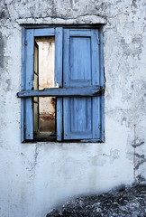 Window. (Alex takes photos.) Tags: nikon d610 full frame fx rhodes lindos texture analogue effex snack deserted no one there shutter blue old haggard borken derelict rundown honeymoon quality time