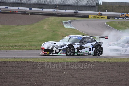 Tom Hibbert in the Ginetta GT4 Supercup at Rockingham, August 2016