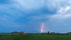 Lightning over Marken, The Netherlands (sandergroffen) Tags: marken noordholland netherlands nl landscapephotography lightning bluehour markermeer holland cloudy clouds thunder houses tree horse farm weather