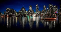 Night  bling (Images by Christie  Happy Clicks for) Tags: longexposure falsecreek vancouver bc canada nightphotography lighting lights nightlights nikon d5200 reflections blue night evening bluehour cityscape boat peaceful serene calm dust