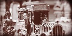 gentleman caller (TaglessKaiju) Tags: skeleton bones lemax 2016 car hearse bw halloween coffins death love driver miniature toy photography holiday seasonal autumn winter display