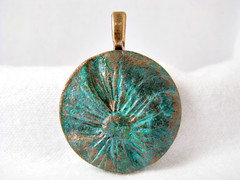 Patina'd Mixed Media Flower Pendant - Copper Aqua Green (ChickieGirlCreations) Tags: abstract flower art metal angel bronze silver necklace forsale handmade oneofakind ooak jewelry polymerclay copper handcrafted wearableart etsy dye brass artisan pendant patina sculpted swellegant metalpaint patinad
