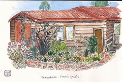 Teesdale - front path (sarabeee) Tags: trees pen garden painting sketch australia watercolour colourful watercolours quicksketch gardenpath teesdale