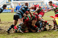 This apparently is an ebbw yellow card offence despite no attempt by blue to roll away or stop using his hands (WhitcombeRD) Tags: cup grass mud rugby union cardiff away vale cap swamp pitch welsh bog awful muddy rfc principality wru ebbwvale armspark ebbw rugbyfootballclub steelmen cardiffrfc