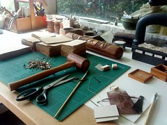 My studio, creating things.. (Bibliographica) Tags: newzealand paper studio book artist journal books mallet press bookbinding binding bibliophile leatherwork titirangi bookarts bookbindingteam bibliographica