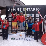 Stephanie Gartner steps onto the podium in 3rd at Ontario FIS Slalom race PHOTO CREDIT: JP Daigneault
