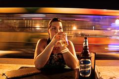Brindis (Campanero Rumbero) Tags: street city light woman bus luz beer argentina girl night speed lights luces noche calle mujer buenosaires cerveza ciudad velocidad rapido transporte brindis quilmex
