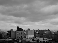 Before the Rain (Lycanmoon) Tags: city urban bw white black brooklyn clouds blackwhite cityscape pentax nimbus 85mm williamsburg q brownstones urbanlandscape cumulonimbus f19 2013 pentaxq01