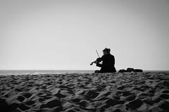 _MG_5639-2 (Rebecca Haranczak) Tags: sf sanfrancisco portrait blackandwhite bw musician music beach water sand alone sandy stranger violin solo single oceanbeach canon6d