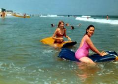 197408 - Ocean City - Beth, Mom (Rev. Xanatos Satanicos Bombasticos (ClintJCL)) Tags: ocean people beach water swimming mom person 1974 maryland rafting raft oceancity rafts fromdad 197408 bethbowen