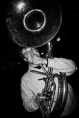 Untitled (Kevin Vanden) Tags: street musician white black streets leuven night demo belgium candid documentary scene horn portret antifascist