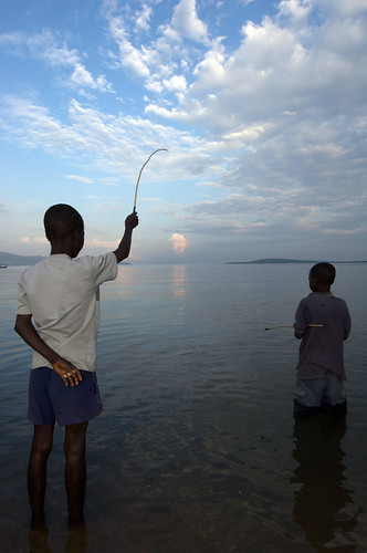 Boys fishing in Lake Victoria, Kenya. Photo by Patrick Dugan, 2007.