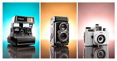 Day 115 | Trio (L S G) Tags: life camera tile toy polaroid photography holga still triptych philippines granite com product tabletop laya gerlock lsg rollerflex stobist