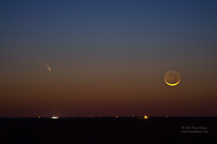 PanSTARRS and Crescent Moon (Tom Heisey) Tags: sunset moon landscape texas crescent comet moonset lubbock earthshine panstarrs