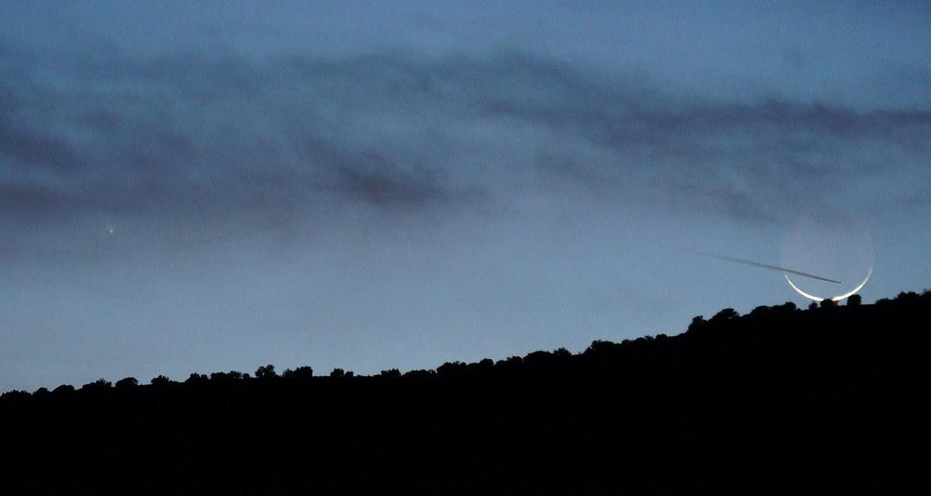 Comet, Moon, Contrail