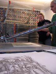 Screenprinting 'Demoiselles de Rotterdam' (Enno de Kroon) Tags: art studio print rotterdam artist printing silkscreen artinprogress ennodekroon mikeleach