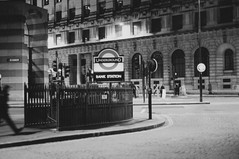 Bank Station - London - February 2013 (old_skool_paul) Tags: new city travel winter light england bw white black london film beautiful fashion st shirt night contrast photoshop 35mm 50mm clothing high amazing scans perfect soft shadows skateboarding kodak bokeh no south grunge grain hipster culture blues style bank pauls skaters fresh nike diamond special professional converse 400 skate lives vans uni 20 february nikkor f18 bucks levels supreme wycombe fg skateboarders fg20 bw400 ldn 2013 snapback