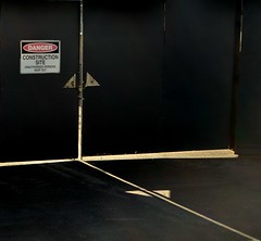 Danger - Construction Site (phunnyfotos) Tags: phunnyfotos nikon nikond5100 d5100 australia gate gates entry sign danger warningsign constructionsite shadow shadows light melbourne vic victoria black