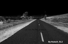 Graffiti on the Road II_edited-1 (Hutech_f2.2 (I'm staying too!)) Tags: road blackandwhite art landscape graffiti nikon empty australia infrared wodonga d700