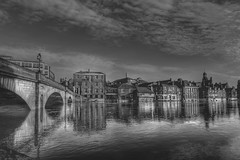 River Ouse York, in Flood (bojangles_1953) Tags: york uk bridge bw flood riverouse