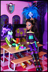 Overhead in the Lunchroom (DollsinDystopia) Tags: witch cam seamonster clawdeen createamonster monsterhigh monsterhighhighschool