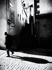 Untitled (cornishdjango photography) Tags: street travel people bw man france contrast pen silver photography blackwhite brittany olympus morlaix efex micro43rds epl3